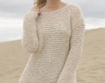 Knit  woman sweater, pullover,jumper, Alpaca Silk, hand knit