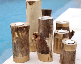Tree branch candle holders in gold