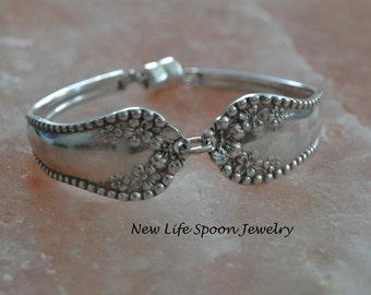 "Spoon Bracelet ""Mayflower"" Beaded Gift Valentine Antique Bracelet Silver Jewelry Handmade Spoon Jewelry Fork Bracelet- Mono P-360"