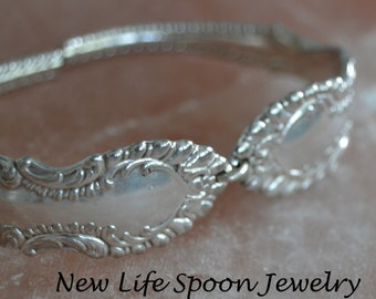 "Spoon Bracelet ""Elberon""Ornate Handmade Mother's Day Vintage Bracelet Antique Jewelry Gift Silverware Bracelet Spoon Ring -377"