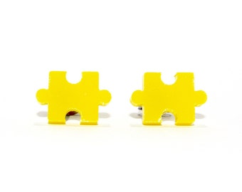 Jigsaw Puzzle Stud Earrings - Yellow // Jigsaw Earrings / Puzzle Earrings / Jigsaw Puzzle Earrings / Puzzle Piece Earrings / Yellow Earrings