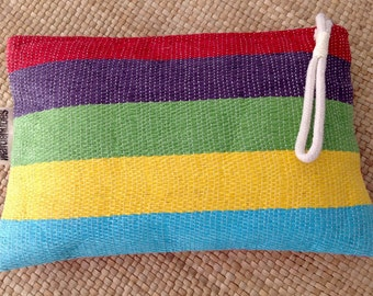 Stripped raffia clutch - Beach bag - Summer clutch - FREE SHIPPING