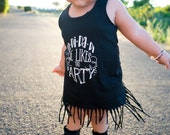 SALE! La Di Da Di we likes to party    party dress   fringe dress   birthday dress    toddler girl clothing    baby girl clothing