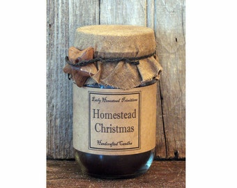 Primitive Candle, Christmas Candle, Country Rustic Homestead Christmas Scented Jar Candle