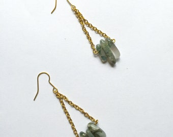 Green Trapeze Earrings Moss Agate Zen Boho Bohemian Gypsy