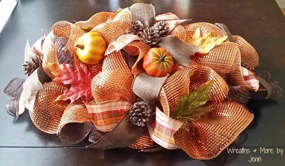 Fall table centerpiece deco mesh decor autumn