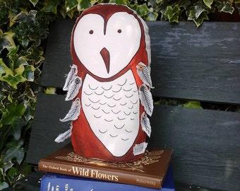 Door stop~owl doorstop~fabric owl~hand painted owl~whimsical doorstop~whimsical owl~door stop~owl decor~whimsical~folklore owl~owl~