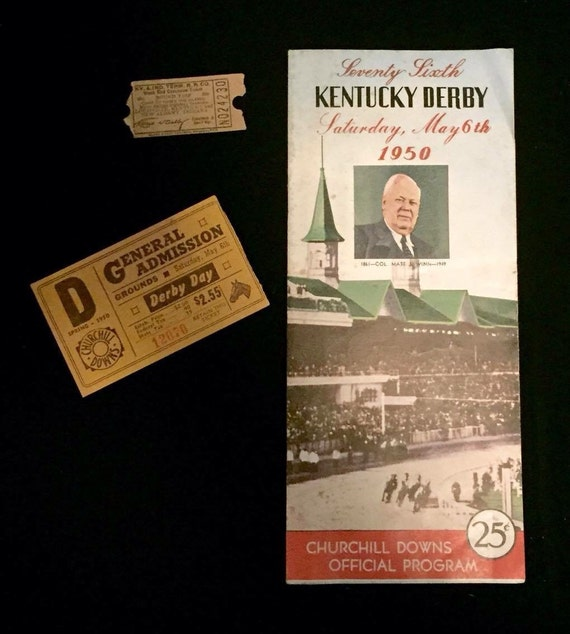 FREE SHIPPING-Lot Of 3-Vintage-1950's-76th-Kentucky Derby-Horse Race-1 Complete Official Program-1 General Admission Ticket-1 Tollbooth Tick