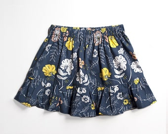 Baby and Toddler Skirt, Gathered Cotton Printed Skirt with Ruffle, Navy Floral