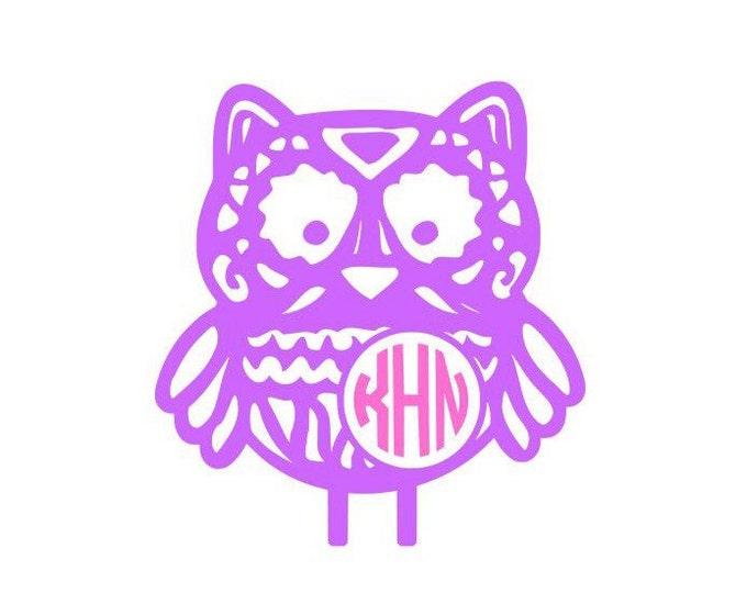 Aztec Owl || Owl || Aztec Owl with monogram || Aztec Decal