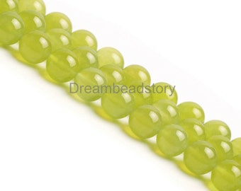 Natural Stone Beads for Making Necklace Bracelet Jewelry, 10 12mm Lemon Color Round Agate Loose Beads in Bulk Wholesale (B253)