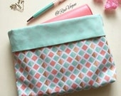 A5, Personal, Pocket Planner Reversible Protective Pouch - Coral Mint Geometric Planner Pouch - Made to Order