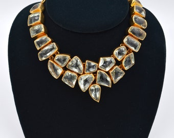 Gold Vermeil Over Sterling Silver Checkerboard Cut Green Amethyst Necklace