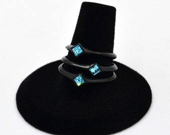 Black Stainless Steel Blue Topaz CZ Minimalist Ring