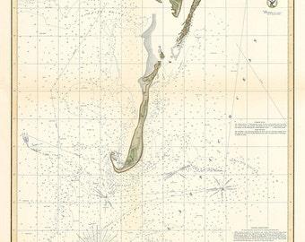 Monomoy Harbor nautical Chart 1854