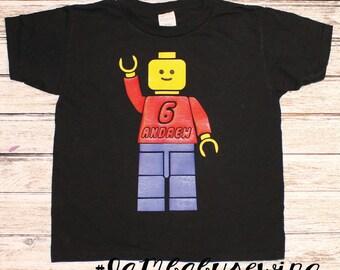 Lego inspired boys birthday shirt