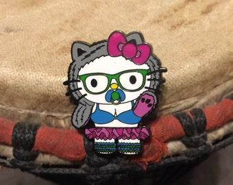 Hello raver kitty hat pin
