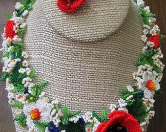 Ukrainian jewelry. Ukraine. Ukrainian necklace. Summer flowers. Unique necklaces for women. Poppies. Beaded necklace