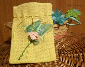 SMALL POUCH of JUTA  yellow, butterfly, flower, blue, green, pink