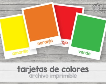 Printable kid's colors flashcards, spanish