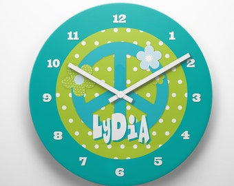 Custom PERSONALIZED Kids Wall Clock Room Decor Great Childrens Gift Idea Cute Fun Flower Power Peace Sign Hippie Retro 60s Girls Theme