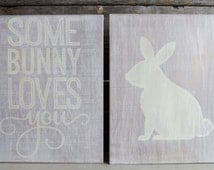 Some Bunny Loves You Distressed Rustic Wall Art in Purple