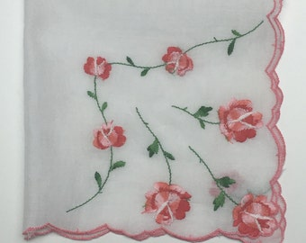 Vintage White Handkerchief with Rose Embroidered Flowers, Red Rose Hanky