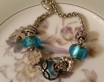 Bracelet Beaded Silver Blue