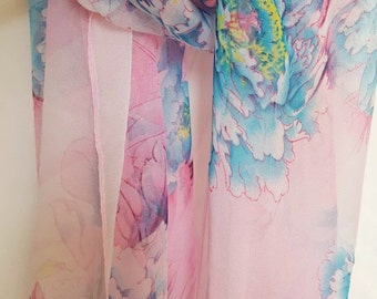 Light Cotton Candy Floral Scarf, Pink Long Scarf with Blue Flowers, Fashion Scarf
