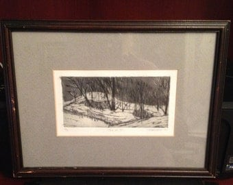 Vintage (c.1971) print of ink sketch entitled The Hill. Signed and dated bottom right, numbered 4/9, framed behind glass and matted.