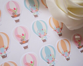 Hot Air Balloon Envelope Seal stickers for invitations, favours/candy bags 36 pcs - Free shipping !