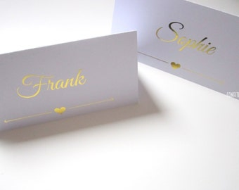"""Wedding Place Cards Table Decoration """"Love Heart"""" - Gold print - Pack of 10"""