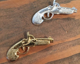 Gun Brooch | Silver or Gold Plated Pistol Pin | Hand Gun Jewelry | Made in the USA