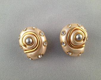 Kenneth Lane Shell 2 Tone Faux Shell Earrings