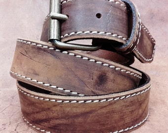 MOD. VINTAGE 05 tanned cowhide belt Thickness 4 mm. Width 4 cm. Leather belts Made in Italy