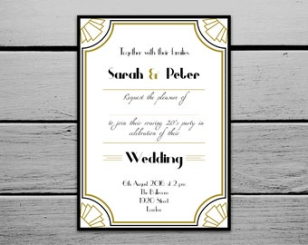 Printable 1920s Great Gatsby Inspired Wedding Invitation