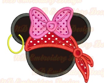 Pirate Minnie Mouse Embroidery Applique Design, Mouse ears Machine embroidery,  ms-111