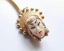 Vintage Siam Jewelry 1950's Thai Dancing Girl Plastic Head Gold Wash Keyring Key Chain