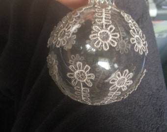 Freestanding Lace Globe Holiday Ornament