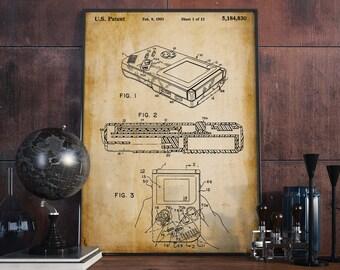 nintendo gameboy patent print christmas gift retro toy poster gift for gamer
