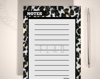 Digital or Printed Animal Print Notepad or Loose Writing Sheets/ 5x7 Notepads/ Notepads/ FS#009