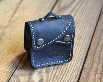 Coin Purse with Personalization, Leather Gift, Coin Purse in Black, Change wallet, Briefcase Style Coin sack, Children's purse (016)