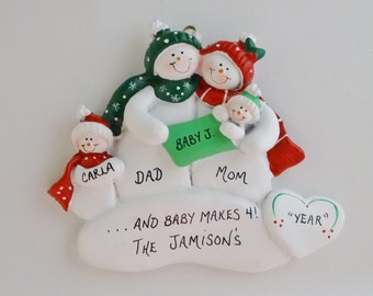 Family of 4 Personalized Ornament with New Baby- Family of 4 Ornament with New Baby Girl- Family of 4 Ornament with New Baby Boy