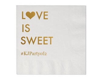 Love is Sweet Personalized Wedding Napkins