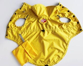 Yellow Dog Raincoat - Dog Coat - Dog Clothing - Pet Clothes - Available to Any Breed - Small & Big dog