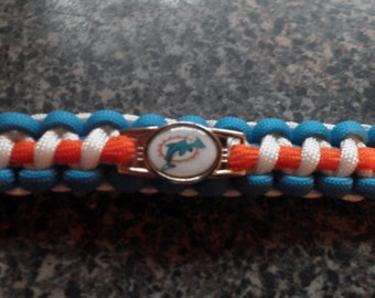 Miami Dolphins paracord bracelet, with whistle.