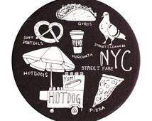 NYC Street Fare Coaster Set, NYC Coaster, Reusable Coasters, New York City, Tabletop, Party, Food, Travel