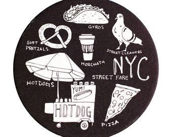 NYC Street Fare Coaster Set, NYC Coaster, Reusable Coasters, New York City, Tabletop, Party, Food, Travel