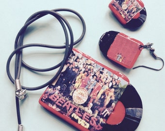 The Beatles Sgt. Pepper Record Album Necklace & Earrings Set