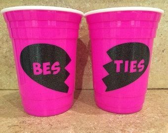 Bestie Party Cup- best friend cup, gift for friend, matching cups, hot or cold cup, neon cup, double walled, cute cup, glitter, bestie heart
